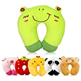Travel Pillow for Kids Toddlers - Soft Neck Head Chin Support Pillow, Cute Animal, Comfortable in Any Sitting Position for Airplane, Car, Train, Machine Washable, attach luggage, Children gift (frog)
