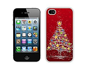 Iphone 4S Case,Colorful Stars Christmas Tree Durability Apple Iphone 4 4s Silicone White Case