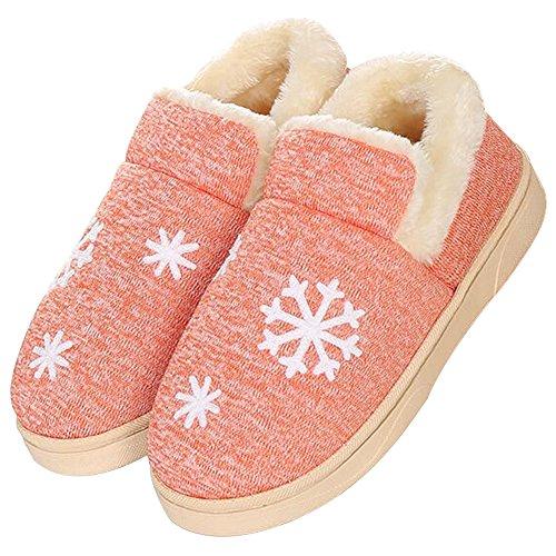 JACKSHIBO Unisex Plüsch Baumwolle Pantoffeln Weiche Leicht Wärmehausschuhe Rutschfeste Slippers für Damen Orange2