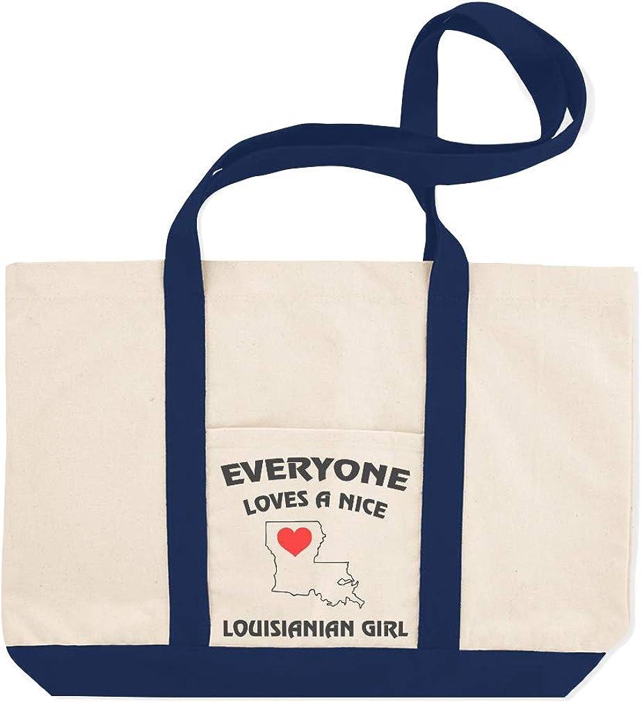 Canvas Shopping Tote Bag Everyone Loves A Nice Louisianian Girl Girl Beach Bags for Women