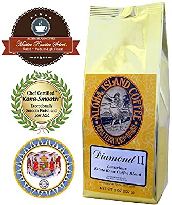 Luxurious Kona Coffee Blends, Ground Coffee (Drip Grind), 8 Oz Pkg