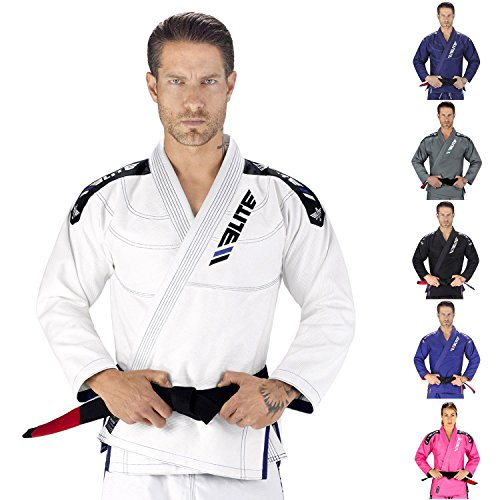 Elite Sports New Item  IBJJF Ultra Light BJJ Brazilian Jiu Jitsu Gi With Preshrunk Fabric and Free Belt, White (A1)
