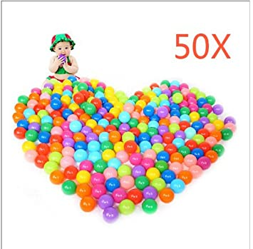 Hrph 50Pcs 100Pcs Colorful Ball Ocean Balls Soft Plastic Ocean Ball Baby Kid Swim Pit Toy (50PCS)