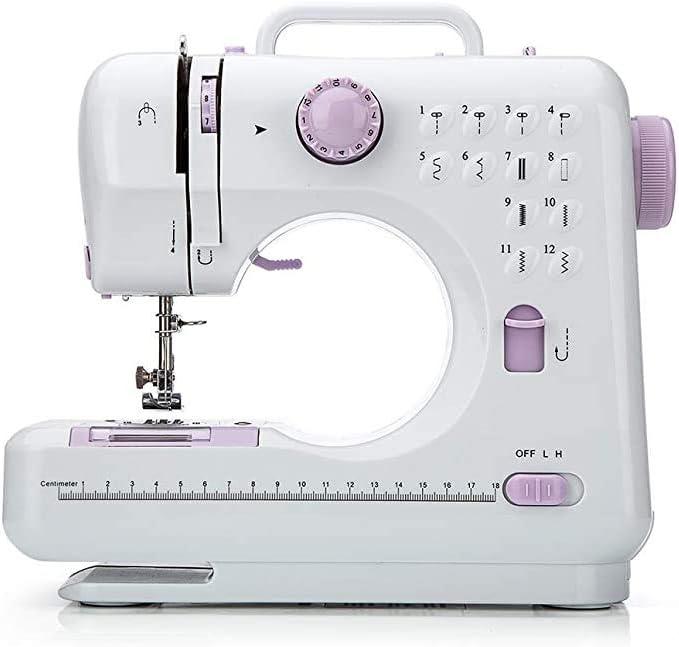 Máquina de coser (12 puntadas, 2 velocidades, luz de costura LED, pedal) - Máquinas de coser overlock eléctricas - Herramienta de mano pequeña para coser en el hogar