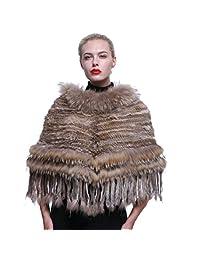 URSFUR Real Raccoon Fur Layered with Rex Rabbit Fur Tassel Poncho Cape