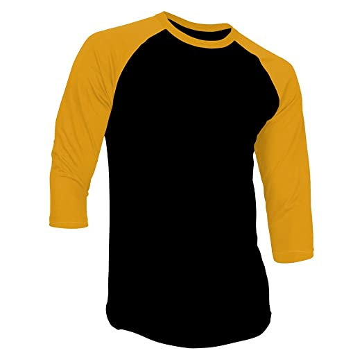 d673eda5da7c DealStock Men's Plain Raglan Shirt 3/4 Sleeve Athletic Baseball  Jersey,BlackGold-S