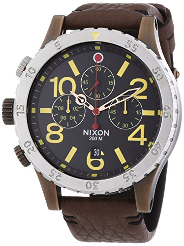 Nixon A363-1625 Mens The 48-20 Chrono Leather Antique Copper Brown Watch