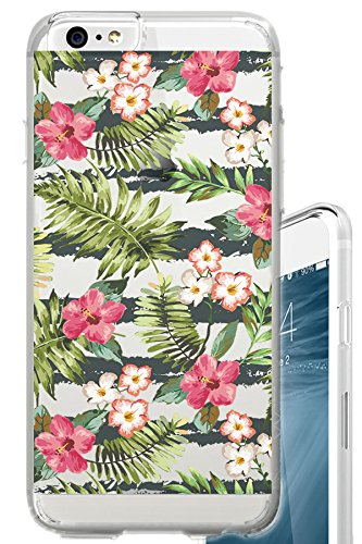 iPhone 6S Case Vintage Floral Pattern Floral Flowers Clear Translucent Transparent Unique Design Pattern Cover For iPhone 6S also fits iPhone 6 (Hawaii Fresh Flowers)