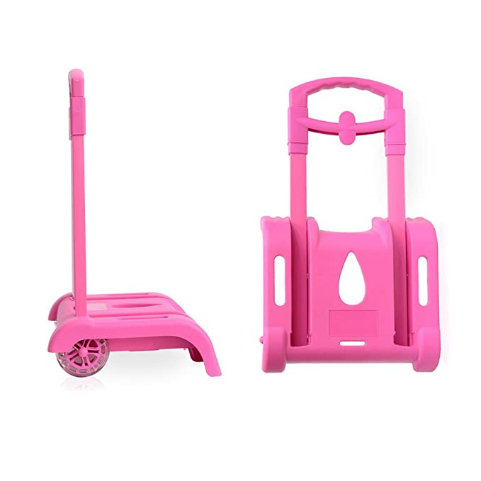 Amazon.com | Wheeled Trolley Hand Aluminium Alloy Folding Trolley Cart for Backpack (Pink, 2 Wheels) | Kids Backpacks