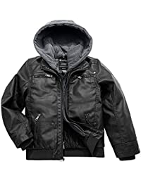 Boy's Faux Leather Jacket Waterproof Zipper Coat with Removable Hood