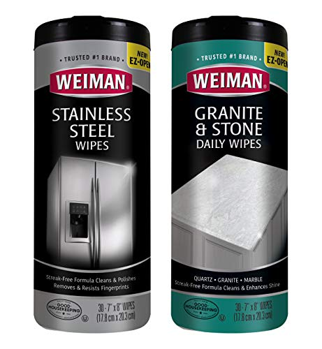Weiman Stainless Steel Wipes and Granite Wipes (30 Count Each) - Keep Appliances Shining Bright and Protect Countertops with the pH Neutral Formula