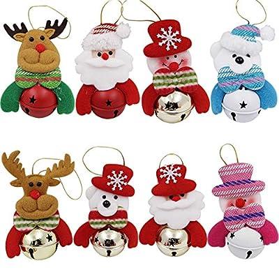 Happy Trees Christmas Tree Plush Ornaments Set for Xmas Home Party Decor, Christmas Hanging Snowman Elk Santa Claus Polar Bear Decorations with Metal Bells, 8 Pcs (Set of 8)