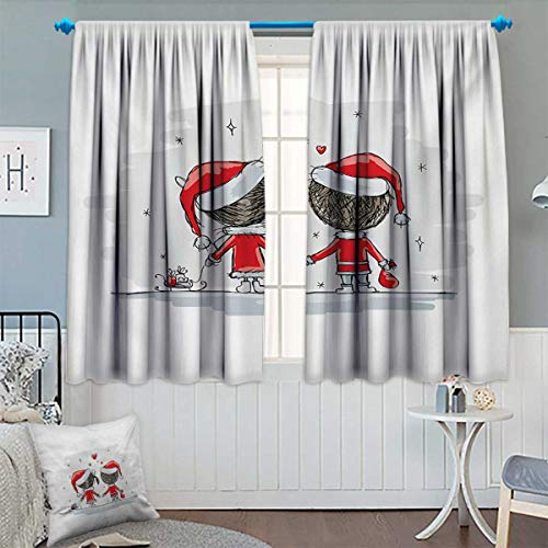 Anhounine Christmas,Blackout Curtain,Soul Mates Love with Santa Costume Family Romance in Winter Night Picture Print,Patterned Drape for Glass Door,Red White,W72 x L45 (Soul Mate Glass Block)