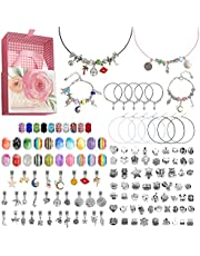 Wellehomi Charm Bracelet Making Kit,132 Pieces Jewellery Making Kits Beads, DIY Bracelet Necklace Set for Beginner-Children's day, Gift Crafts with Gift Box for Girls Age 6-16