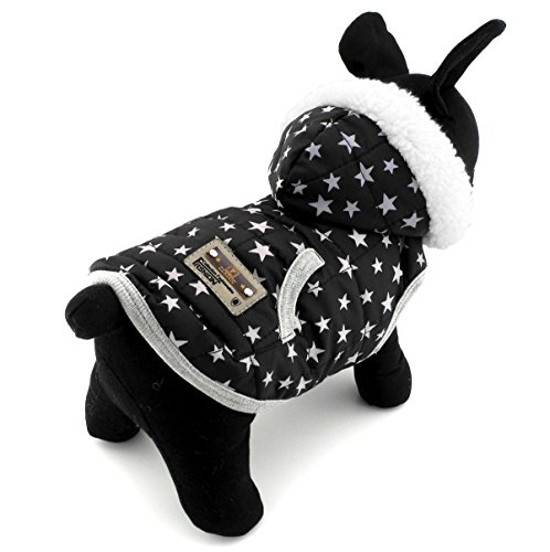 PEGASUS SELMAI Windproof Puppy Coat Hooded Jacket Fleece Lined Polka Dot/Star Printed Boys and Girls for Small Pet Dog Cat Doggy Winter Vest Hoodie Warm Coat Chihuahua Clothing Star S