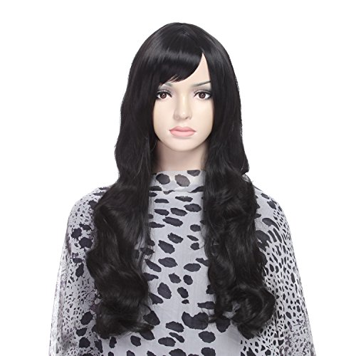 DAOTS 28 Inches Black Curly Wig Long Wavy Wigs for Women Cosplay Costume, Free Wig Cap and Bobby Pins