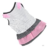 Cute Dot Pink Dog Dress Harness Pet Lace Mesh Vest Tutu Skirt for Small Dogs Girl (XS, B)