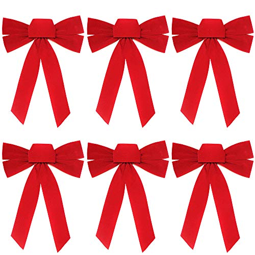 (6 Pieces Red Bow - Christmas Wreath Bow - 10