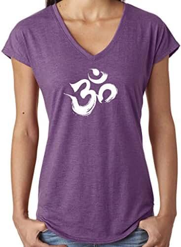 Yoga Clothing For You Ladies Brushstroke AUM V-neck Tee Shirt