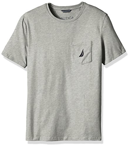 Nautica Men's Big and Tall Solid Pocket T-Shirt, Grey Heather, 4XLT