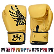 Fairtex Gloves Muay Thai Boxing Sparring BGV1 Size 8, 10, 12, 14, 16 oz in Black, Blue, Red, White, Pink, Yellow, Classic Brown, Emerald Green, Thai Pride, US, Nation, F-Day, Falcon, Breathable and more (Falcon Gold,12 oz)