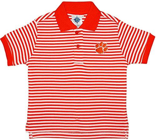 Tiger Striped Polo Shirt - Clemson University Tigers Striped Polo Shirt Orange/White