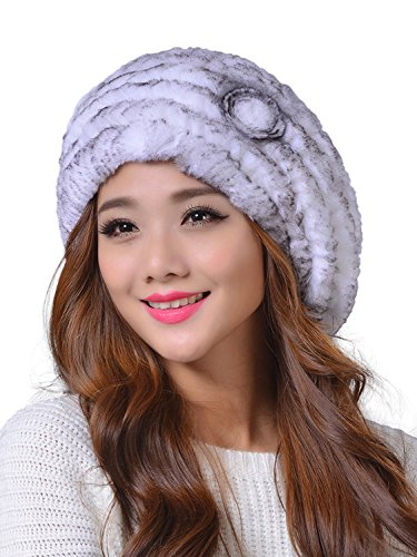 LITHER Women's Winter Rex Rabbit Fur Beret Hat with Fur Flower (white grey)