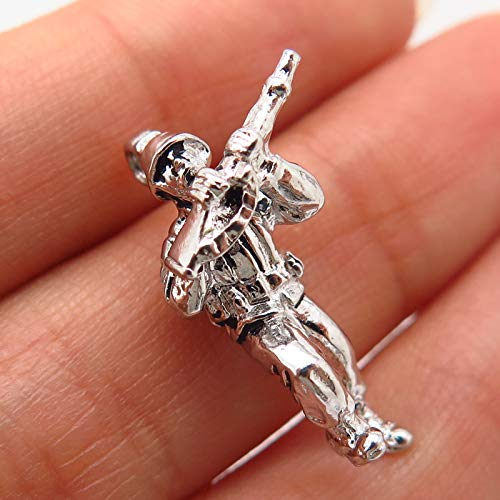 925 Sterling Silver Vintage Crest Craft Rifleman Soldier Charm Pendant Jewelry Making Supply by Wholesale Charms