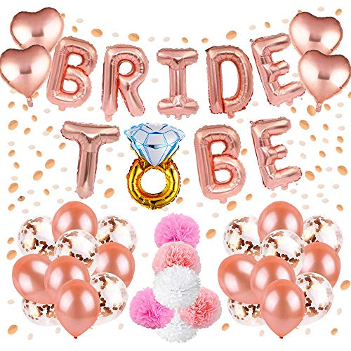 Hen Party Decoration,Bachelorette Classy Team Bride Party Supplies with Bride to Be Foil Balloons,Confetti Latex Balloons and Paper Pom Poms for Hen Night Party Pack of 37