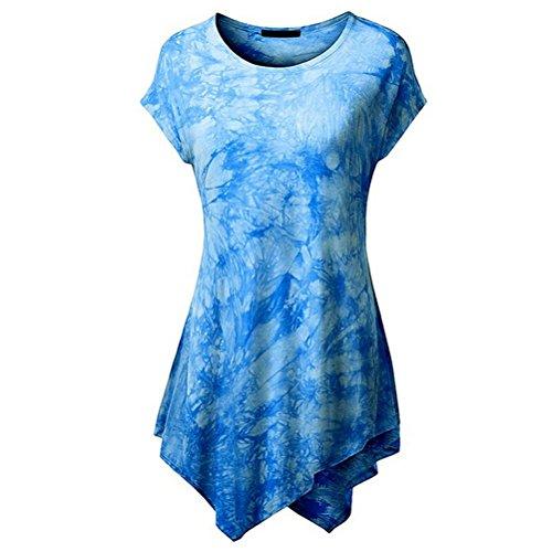 Women Short Sleeve O-Neck Irregular Hem T-shirt Loose (X-Large, Blue)