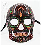 Men's Dia de Los Muertos Sugar Skull Mask (Black/Multi)