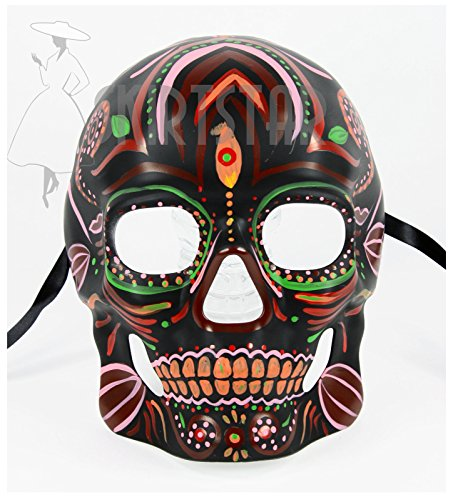 Men's Dia de los Muertos Sugar Skull Mask (Black/Multi) (Witch Doctor Mask)
