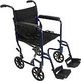 ProBasics Medical TCA1916BL Aluminum Transport Wheelchair, Blue