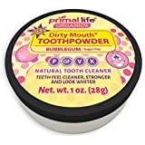 Dirty Mouth Organic Sweet Bubblegum Toothpowder #1 Rated Best All Natural Dental Cleanser -Gently Polishes Teeth and Feel Cleaner, Stronger and Whiter Teeth-Primal Life Organics 1oz