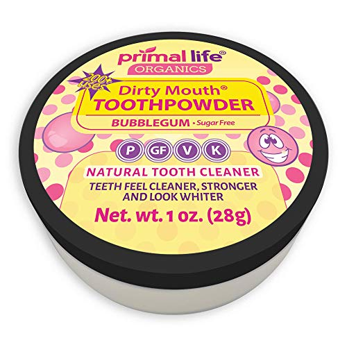 (Dirty Mouth Organic Sweet Bubblegum Toothpowder #1 Rated Best All Natural Dental Cleanser -Gently Polishes Teeth and Feel Cleaner, Stronger and Whiter Teeth-Primal Life Organics 1oz)