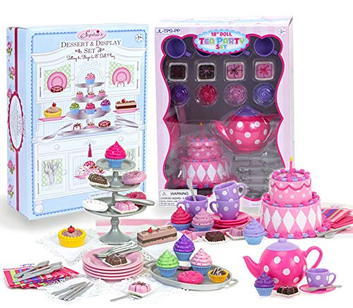Sophia's 18 Inch Doll Tea Party & Dessert Food Set, Two Complete Doll Sets for Your Favorite 18 Inch Doll | Includes 64 Pieces of Pretend Doll Food & Accessories