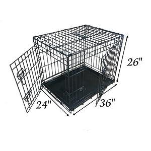 Ellie-Bo Jaula Plegable 2Puerta con Orificio Bandeja de Metal Grande (91,4cm) para Perro.