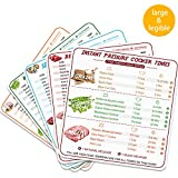 Quick Reference Guide - 5 Pcs Instant Pot Cheat Sheet Magnets, Stronger Magnetic Cheat Sheet Food Cooking Time Chart - Clearly Read with 100+ Food Type, Electric Pressure Cooker Accessories