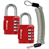 4 Digit Combination Lock with Steel Security Cable and Outdoor Waterproof Padlock for Gate, Gym Locker, Cabinet, Luggage, Bike (Red,Pack of 3)