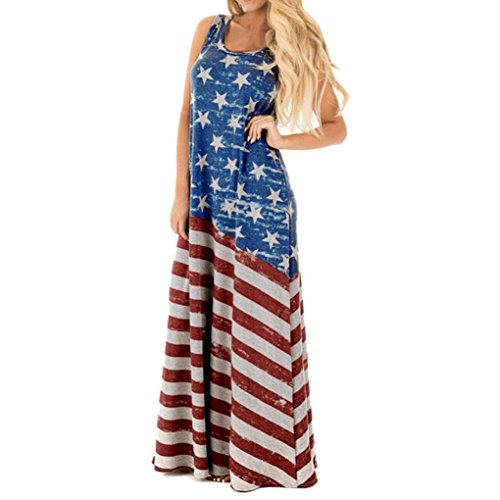 July 4th Patriotic American-Flag Women Shirts Sleeveless Casual Long Maxi Dress Ankle Length Loose Beach Sundress (S, Blue)