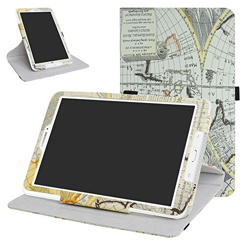 Galaxy Tab E 9.6 Rotating Case,Mama Mouth 360 Degree Rotary Stand with Cute Cover for Samsung Galaxy Tab E 9.6 / E Nook 9.6 Inch T560 T561 T567 Verizon 4G LTE,Map White (Samsung Nook Screen Cover)