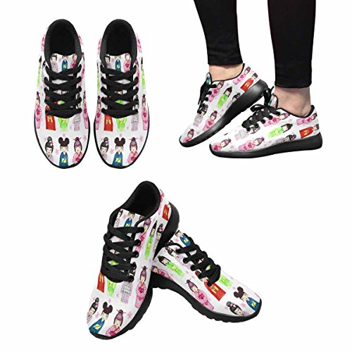 InterestPrint Womens Jogging Running Sneaker Lightweight Go Easy Walking Comfort Sports Running Shoes Japanese Girl and Flowers Multi 1 4xZBl
