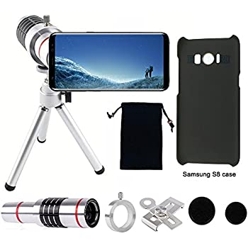 Camera Lens, 18x Universal Optical Telescope Mobile Lens with tripod and Phone Holder ,2pcs Black Cases For Samsung Galaxy S8