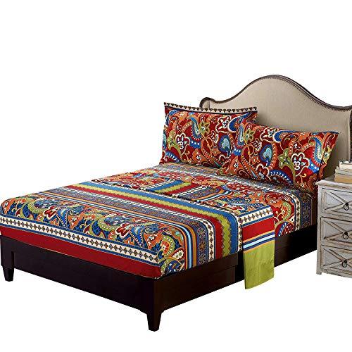 FADFAY Exotic Boho Style Bed Sheet Set Colorful Bohemian Bed