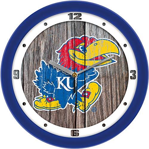 SunTime Kansas Jayhawk - Weathered Wood Wall Clock