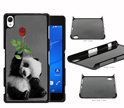 Adorable Smiling Baby Panda with Red Rose NUE Designs Hard Plastic Snap On Cell Phone Case Sony Xperia Z2