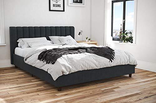 Nova Queen Platform Bed - Novogratz Brittany Upholstered Bed, Blue Linen, Queen