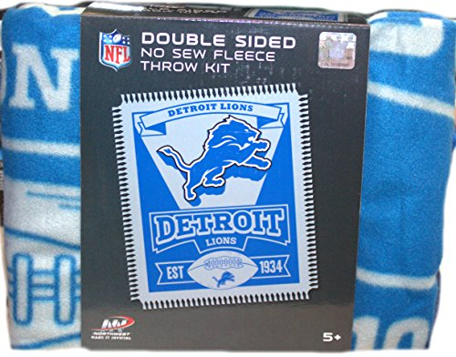 The Northwest Company Detroit Lions Double Sided No Sew Fleece Blanket Kit
