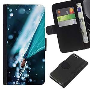 KingStore / Leather Etui en cuir / Apple Iphone 5C / Paraguas Naturaleza Otoño Tiempo