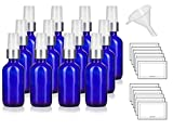 1 oz / 30 ml Cobalt Blue Glass Boston Round Luxury Silver and White Treatment Pump Bottle - (12 Pack) + Funnel and Labels